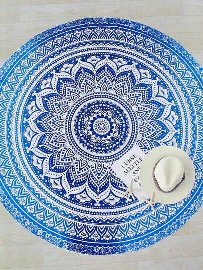 Maillot de bain de la plage rond imprimé du lotus bleu