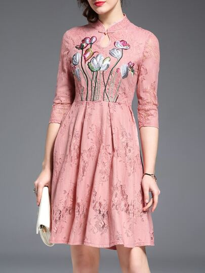 Pink Hollow Flowers Embroidered Lace Dress