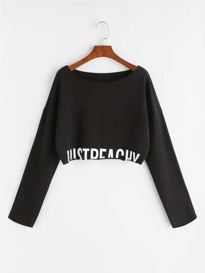 Sudadera corta con hombro caído y estampado de letras - negro