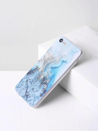 Étui en marbre bleu de l'iPhone 7 d'impression