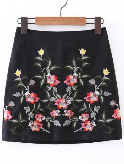 Flower Embroidered Bodycon Skirt
