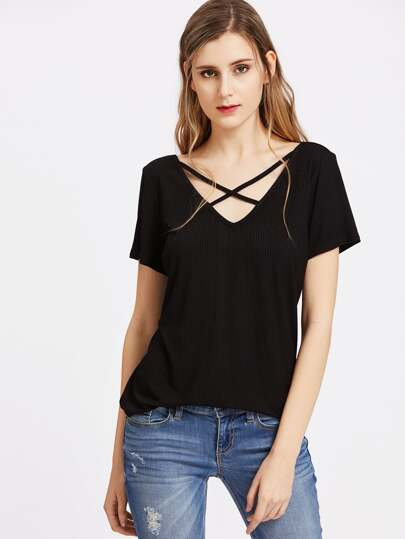 Crisscross Double V Neck Ribbed Tee