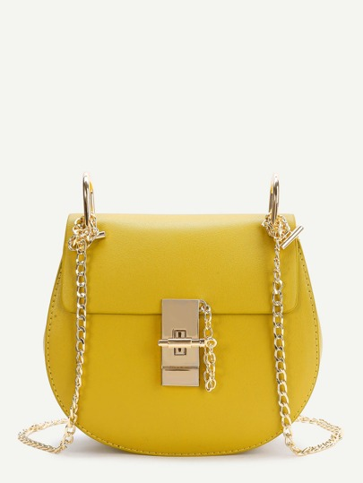 Yellow Flap Saddle PU Bag With Chain