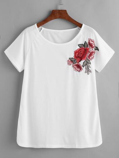 White Raglan Sleeve Applique T-shirt