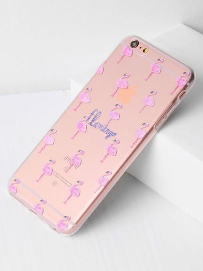 Flamingo Print Clear iPhone 6 Plus/6s Plus Case