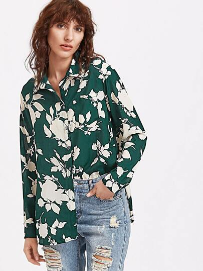 Green Flower Print High Low Curved Blouse