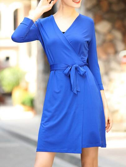Blue V Neck Tie-Waist Shift Dress