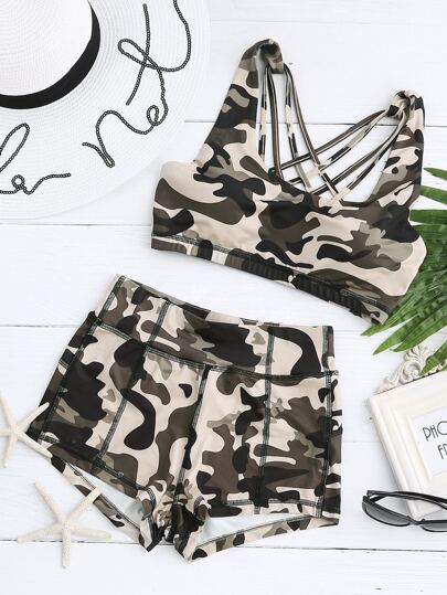 Multicolor Camo Print Cage Back Sports Bra With Shorts