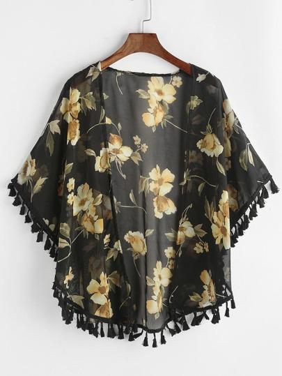 Kimono de chifón con estampado y ribete con flecos - negro