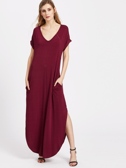 V Neck Roll Cuff Side Pocket Curved Tee Dress