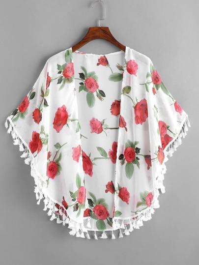 Rose Print Fringe Hem Kimono