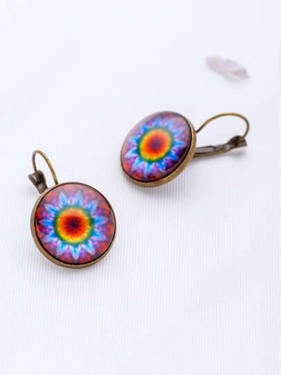 Flower Pattern Vintage Hoop Earrings