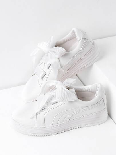 Sneakers in pelle White Lace Up Faux