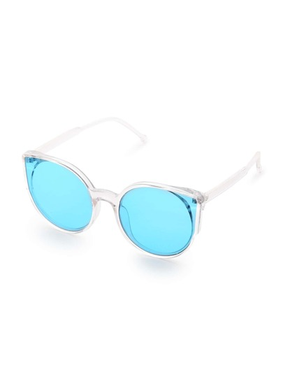 Clear Frame Blue Lens Sunglasses