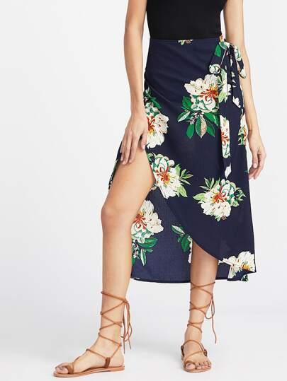 Falda cruzada con estampado floral y detalle de cordón - marino