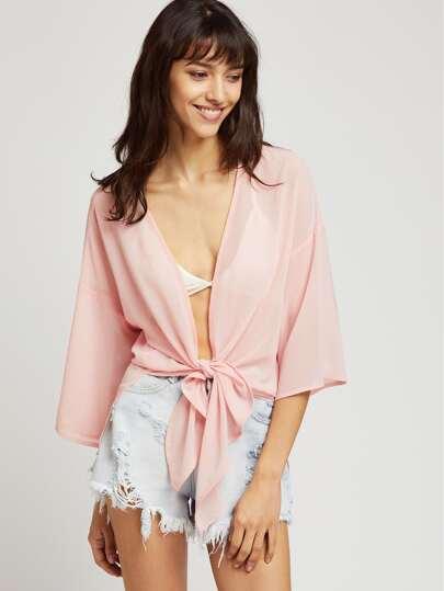 Kimono de mangas 3/4 con hombros caído con cordón en la parte delantera - rosa
