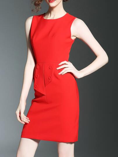 Red Crew Neck Sleeveless Sheath Dress