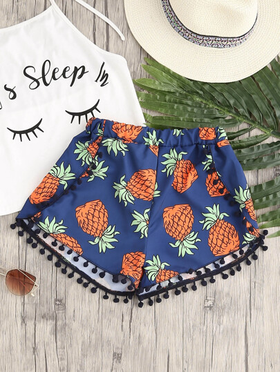 Pineapple Print Pom Pom Hem Shorts