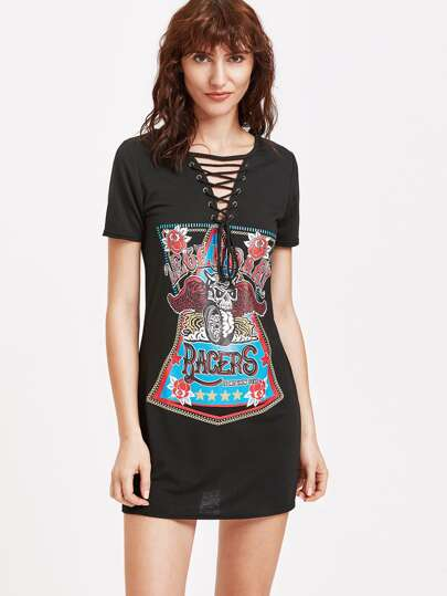 Lace Stampato Nero Up Tee Dress