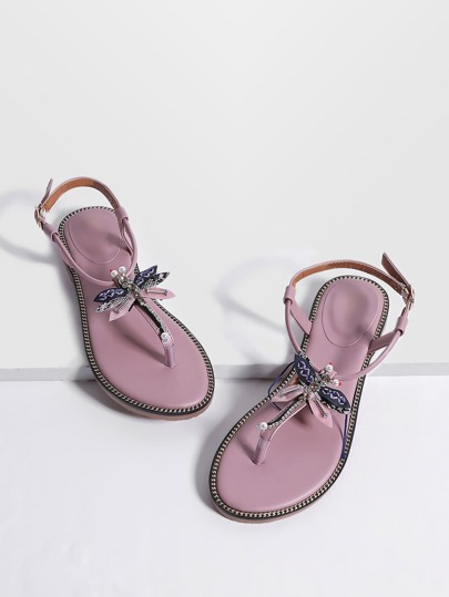 Pink Dragonfly Detail Toe Post Flat Sandals