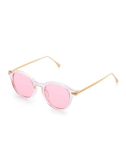 Gafas de sol con marco transparente y lentes rosa