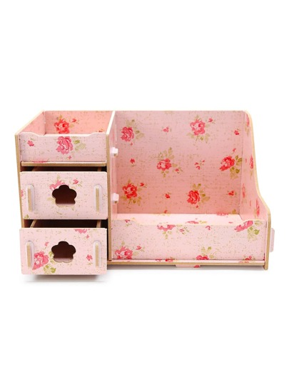 Pink Flower Print DIY Makeup Storage Case