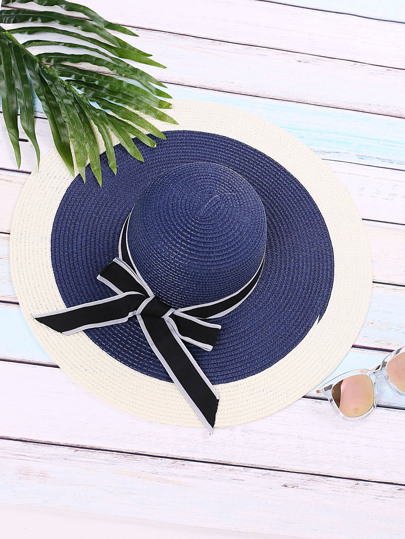 Blue Vacation Bow Tie Straw Hat