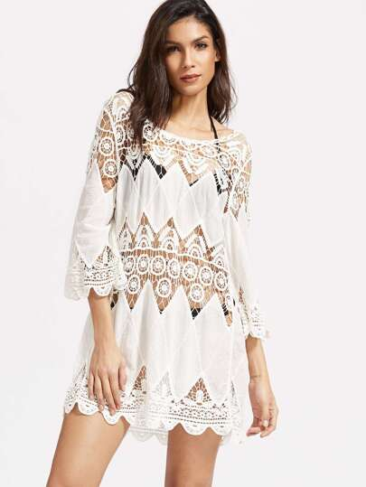 White Hollow Out Crochet Scallop Hem Cover Up Dress