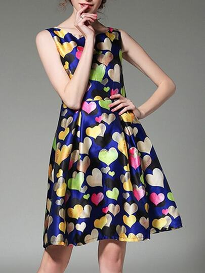 Multicolor Hearts Print A-Line Dress