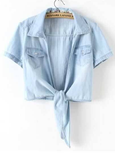 Knot Front Denim Blouse With Chest Pockets