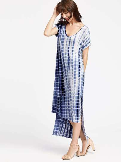 Navy Tie Dye Print Slit High Low Tee Dress