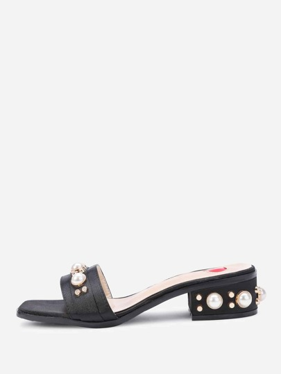 Faux Pearl Embellished Heeled Satin Mules