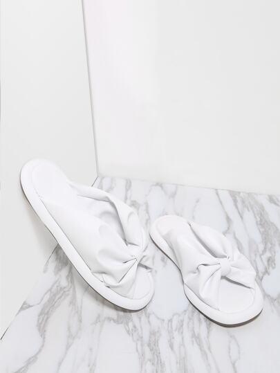 White Ruched Peep Toe PU Flat Sandals