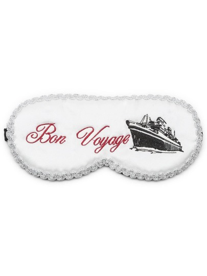 White Letter Embroidery Contrast Trim Detail Eye Mask
