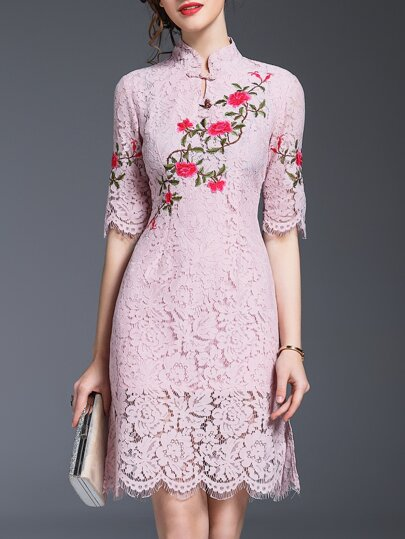 Pink Flowers Embroidered Lace Dress