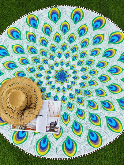 Green Peacock Feathers Print Pom Pom Trim Beach Blanket