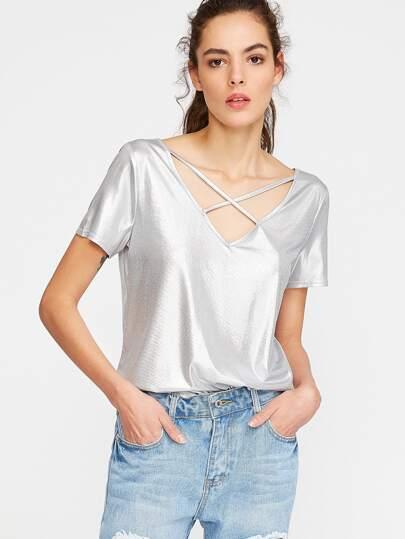 Camiseta con cuello en V con tiras cruzadas - plateado