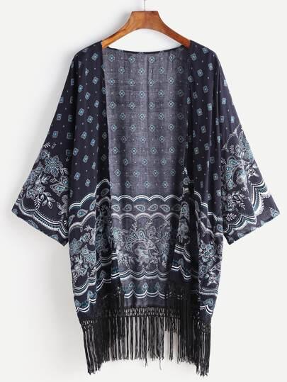 Kimono imprimé des raisins bleu marine avec des franges