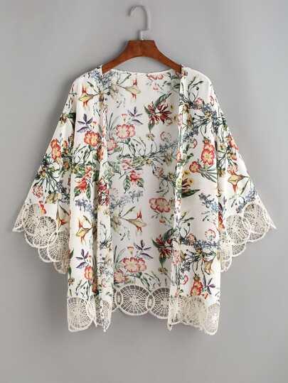 Kimono imprimé fleurs crochet liseré - Blanc