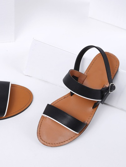 Black Strappy Beach Style PU Sandals