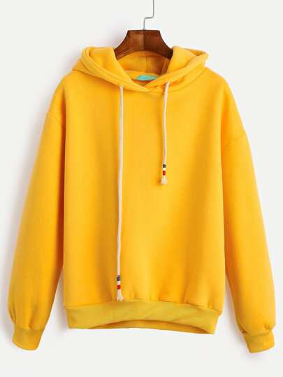 Yellow Drop Shoulder Drawstring Hooded Sweatshirt