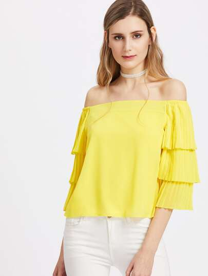 Pleated Tiered Bell Sleeve Bardot Top