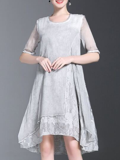 Grey Crew Neck Split High Low Dress