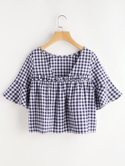 Open Back Ruffle Detail Bell Sleeve Gingham Top