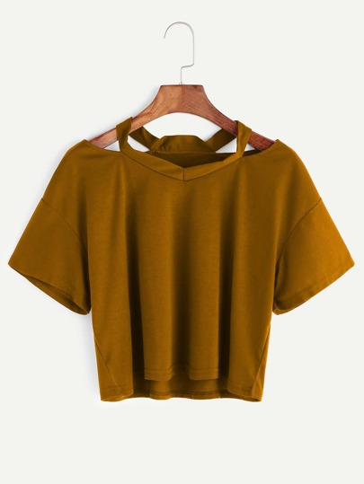 Khaki Cut Out Neck Crop T-shirt