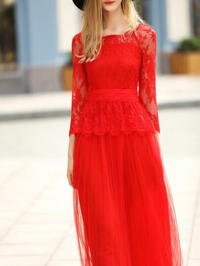 Robe maximal rouge transparent lace