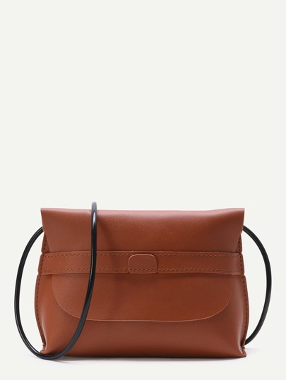 Brown PU Crossbody Bag With Contrast Strap