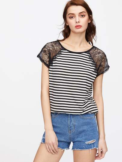 Lace Panel Raglan Sleeve Striped T-shirt