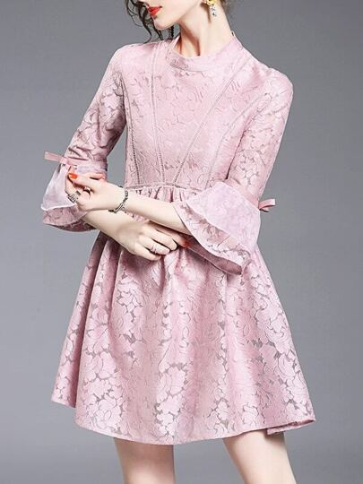 Pink Contrast Organza Lace Dress