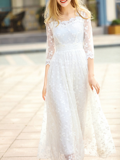 White Sheer Gauze Flowers Embroidered Dress